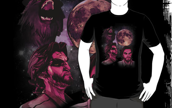 I got this amazing Three Wolf Moon shirt using Bigby Wolf (A Wolf Among Us) and his various stages. It was made by scolecite. <3